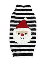 Cat Dog Sweater Dog Clothes Winter Stripe Cute Christmas Red Blue White/Black
