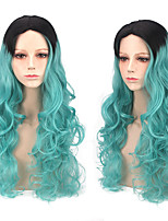 Black to Light Green Ombre Wig Body Wave with Dark Roots Harajuku Wig for European and American Women Daily or Cosplay Party Heat Resistant