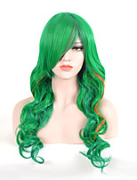 Fashion Long Wave Green Color For Afro Women Synthetic Wigs