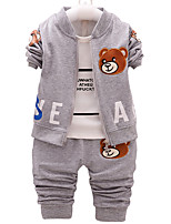 Boy's Cotton Fashion Spring/Fall Casual/Daily Cartoon Bear Print Baby Sports Three-piece Clothing Set