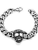 Men's Chain Bracelet Stainless Steel Fashion Skull / Skeleton Silver Jewelry 1pc