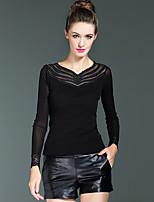 Tee-shirt Femme,Couleur Pleine / Broderie Décontracté / Quotidien / Travail Sexy Printemps Manches Longues Noir Nylon / Spandex
