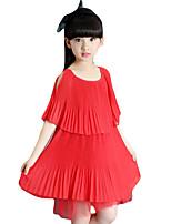 Vestido Chica de Casual/Diario Un Color Raso Manga Corta Verano