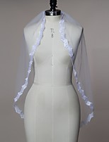 Wedding Veil One-tier Elbow Veils / Fingertip Veils Lace Applique Edge Tulle