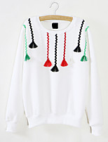 Women's Casual/Daily Cute Regular HoodiesEmbroidered White / Black Round Neck Long Sleeve Cotton Winter Thick Inelastic