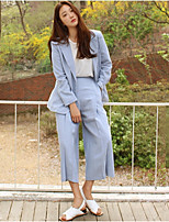 Women's Casual/Daily Simple Spring / Fall Pant Suits,Solid Peaked Lapel Long Sleeve Blue Linen Thin