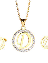 Kalen New Arrival Stainless Steel 18K Gold Plated Capital Letter D Pendant Necklace And Earrings Jewelry Sets For Women