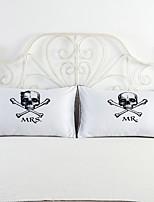 2 pcs Coton / Polyester Housse de coussin / Taie d'oreiller / Oreiller,Nouveauté Moderne/Contemporain / Décoratif