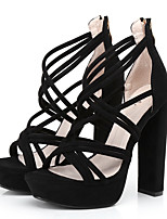 Women's Sandals Summer Platform Fabric Casual Party & Evening Dress Chunky Heel Platform Zipper Black Khaki Fuchsia