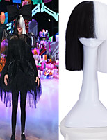 Cosplay Party Online SIA Alive This Is Acting Half Black &White Short Wig with Bowknot Accessory Costume Heat Resistant Wig
