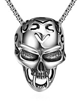 Men's Pendant Necklaces Stainless Steel Skull / Skeleton Unique Design Dangling Style Punk Personalized Hip-Hop Rock Euramerican Silver