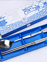 Blue and White Porcelain Tableware Set  Stainless Steel Chopsticks  2 Pieces of Ladle  Creative Gift Box  (Random Colour)