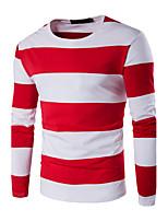 Herren Gestreift / Einfarbig Einfach Lässig/Alltäglich / Sport / Übergröße T-shirt,Rundhalsausschnitt Herbst / Winter LangarmBlau / Rot /