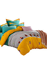 Bedtoppings 4pcs Set 1 Comforter Duvet Quilt Cover/1 Flat Sheet/1 Pillowcase Flannel Coral Fleece With Prints