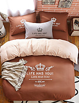 Bedtoppings Duvet Cover 4PCS Set With Crown Prints King Size