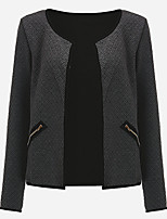 Women's Plus Size / Going out / Casual/Daily Simple / Street chic Fashion Slim JacketsSolid Round Neck Long Sleeve Spring / Fall Medium