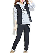 Women's Casual/Daily Simple / Active Pant Suits,Letter Hooded Long Sleeve Silver Polyester