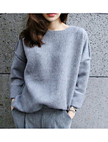 Women's Casual/Daily Simple Regular Hoodies,Solid Pink / Gray Round Neck Long Sleeve Cotton Winter / Autumn Medium Micro-elastic