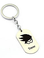 Inspired by Tracer Overwatch  Anime Cosplay Accessories Keychain Silver Alloy