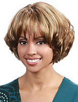 Short Wavy Hair Wig with Bangs Brown and Blonde Color Synthetic Wigs for Women