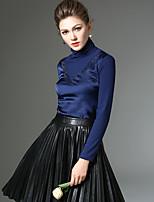 Damen Solide / Patchwork Einfach Ausgehen / Arbeit T-shirt,Rundhalsausschnitt Winter Langarm Blau / Rot / SchwarzPolyester / Nylon /