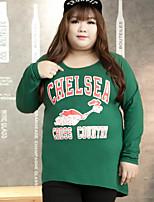 Tee-shirt Femme,Lettre Décontracté / Quotidien / Grandes Tailles simple Automne Manches Longues Col Arrondi Vert Coton / Polyester