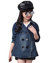 Girl Casual/Daily Solid Suit & Blazer,Denim Spring / Fall Long Sleeve