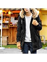 Пальто Простое Обычная На подкладке Мужчины,Однотонный На каждый день Хлопок Полиэстер,Длинный рукав Красный / Черный