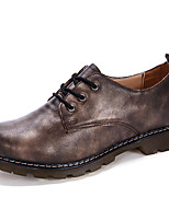 Men's Oxfords Comfort Genuine Leather Spring Fall Wedding Outdoor Party & Evening Lace-up Flat Heel Red Gray Black Flat