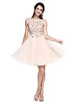 2017 TS Couture® Prom Cocktail Party Dress - See Through A-line Bateau Knee-length Tulle with Appliques / Sash / Ribbon / Bow(s) / Flower(s)