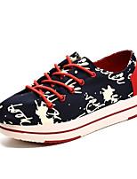 Синий Красный-Женский-Повседневный-Полотно-На плоской подошве-Удобная обувь-Кеды