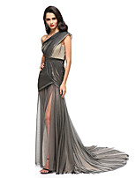 2017 TS Couture® Formal Evening Dress - Furcal Sheath / Column One Shoulder Court Train Tulle with Side Draping / Split Front / Criss Cross