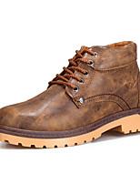 Черный / Синий / Коричневый-Мужской-На каждый день-Полиуретан-На низком каблуке-Удобная обувь-Ботинки