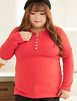 Tee-shirt Femme,Couleur Pleine Décontracté / Quotidien / Grandes Tailles simple Automne Manches Longues Col en V Rouge / NoirPolyester /