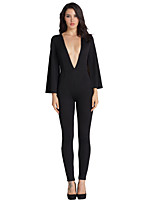 Women's Petite Straight / Slim Jumpsuits,Party/Cocktail / Club Simple / Street chic / Punk & Gothic Solid Deep V ¾ Sleeve Mid Rise Linen