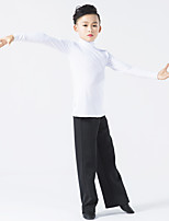 Latin Dance Outfits Children's Performance Milk Fiber Splicing 2 Pieces Long Sleeve Natural Top