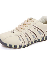 Women's Sneakers Spring Summer Fall Winter Comfort PU Casual Athletic Flat Heel Lace-up Beige
