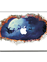 For MacBook Air 11 13/Pro13 15/Pro with Retina13 15/MacBook12 4D Emboss Christmas  Santa Elk Decorative Skin Sticker