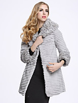 BF-Fur Style Women's Casual/Daily Sophisticated Fur CoatSolid Shirt Collar  Sleeve Winter Gray Wool / Rabbit Fur