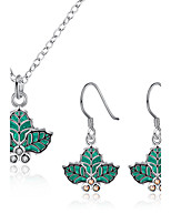 Jewelry 1 Necklace 1 Pair of Earrings Party Daily Casual 1set Women Green Wedding Gifts