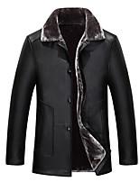 Мужчины На каждый день / Офис / Большие размеры Однотонный Кожаные куртки Рубашечный воротник,Простое / Уличный стиль / Панк & Готика Зима