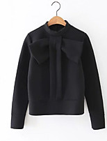 Women's Casual/Daily Simple / Active Regular Hoodies,Solid Black Hooded Long Sleeve Cotton Fall / Winter Thick Stretchy