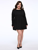Women's Plus Size / Casual/Daily Simple Little Black Dress,Solid Round Neck Above Knee Long Sleeve Blue / Black Cotton Fall Mid Rise