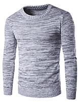 Для мужчин На выход На каждый день Праздник Простое Обычный Пуловер Контрастных цветов,Черный Круглый вырез Длинный рукав ШерстьОсень