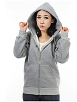 Women's Casual/Daily Simple Hoodie Solid Micro-elastic Cotton Long Sleeve Fall