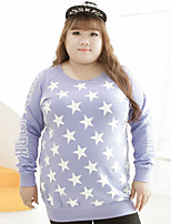 KELIXUAN  Women's Plus Size / Casual/Daily Simple Regular HoodiesPrint / Letter Purple Round Neck Long Sleeve Cotton / Polyester Fall / Winter