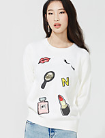 Women's Casual/Daily Street chic Regular Pullover,Print White / Gray Round Neck Long Sleeve Acrylic Fall Medium Inelastic