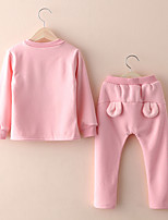 Girls Fashion In Europe And The Long Sleeve Season  Thicken With Plush Bear Printed Fleece Two-Piece Outfit