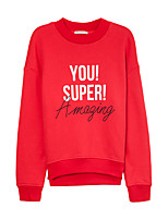 Metersbonwe Women's Casual/Daily Street chic Regular HoodiesLetter Red Crew Neck Long Sleeve Cotton Fall Medium Inelastic