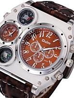 Oulm New Men's Military Quartz Wrist Watch Python Grain Leather Strap Compass Thermometer 2 Time Zone Tonneau